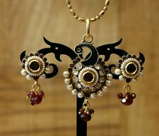 Indian Pakistani Ethnic Antique Gold Finish Pearl Moti Peacock Pendant Earring