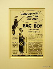 Original Advertisement mounted ready to frame Golf Cart  Bag Boy 1952