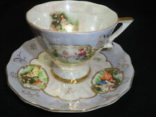 Lefton China Tea Cup and Saucer Victorian Courting Couples Hand Painted