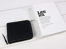 NEW LEE 101 LEATHER WALLET BLACK LEATHER ZIP MONEY COINS POCKET