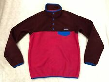 Patagonia Synchilla Pullover Fleece Sweater 1/4 Snap Blue Maroon Pink RARE Small