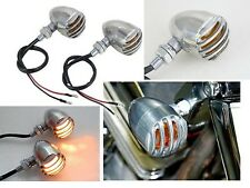 Robber Chrome Finned Grill Amber Turn Signal for Yamaha Harley Sportster Dyna