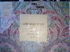 CYNTHIA ROWLEY Pink Teal Coral Paisley FULL QUEEN Duvet Cover SET 100% Cotton
