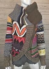 Desigual Neela Patchwork Knit Moto Cardigan Sweater Jacket Sz L Dream