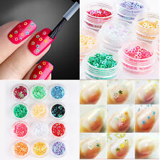12 Pots Nail Art Decorations Hollow Glitter Design Star Shape For UV Gel Acrylic