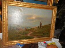 grand paysage de gardien et moutons  h/toile signée encadrée PH TASSIER BARBIZON