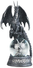 COMRADES in BLACK  Dragon on Snow Globe - Dragon  Statue figurine  H7.88""