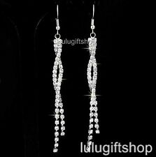 WHITE GOLD PLATED DIAMANTE LONG DANGLE CHANDELIER EARRINGS W SWAROVSKI CRYSTALS