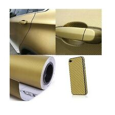 "24""x100"" 3D Golden Carbon Fiber Vinyl Car Wrap Sheet Roll Film Sticker Decal"