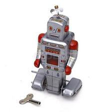 Vintage Robot w/Key Silver Grey Tin Toy Wind Up Action Adult Collectible Gift