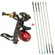 Pro Powerful Shooting Fish Slingshot Wrist Rest + 6X Fishing Arrows Hunting Tool