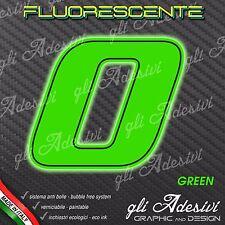 Adesivo Stickers NUMERO 0 moto auto cross gara Verde FLUORESCENTE  5 cm