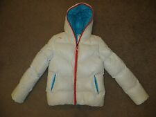 KJUS BACKFLIP WHITE ORANGE BLUE PUFFER DOWN SKI SNOW JACKET COAT PARKA 36 S NWT