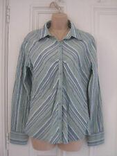 Lovely BNWT Fat Face cotton striped shirt size 14, greens, blues, beige etc.