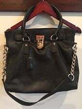 Authentic MICHAEL KORS MK Hamilton Black  Leather Lock Large Preowned Bag