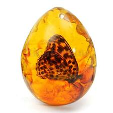 Beautiful Amber Butterfly Insects Stone Pendant Necklace Thickness 5*4cm 0.8''