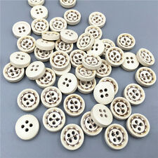 100X Wooden Buttons Lettering 4 Holes Round Sewing Scrapbooking Craft 13mm