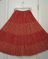 New! Rust Red Multi Color FLORAL Rayon Hippie Gypsy Peasant Broomstick Skirt/M