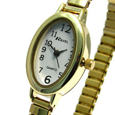 Ladies Slim Oval Watch by Ravel with Expanding Bracelet Goldtone 01