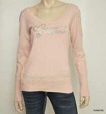 Nwt Guess RITA Logo Crystal Cut Out Long Sleeve Sweater Pullover Pink Flush S