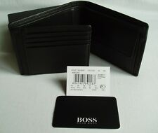 HUGO BOSS '50128297' 'AREZZO' TRI FOLD BLACK CALFSKIN LEATHER NOTE COIN WALLET
