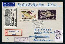 82728) EL AL FF Wien Österreich - Israel 21.9.66, Reco cover CSSR