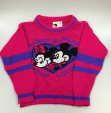 Vintage Disney Mickey Mouse Sweater JetSet 1980s Girls Size 6 Medium Hot Pink