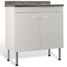 Mobile con lavello in acciaio inox colore bianco 100x50 cm doppia anta x cucina