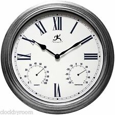 """Silo 16"""" Indoor/Outdoor Wall Clock with Thermometer and Hygrometer"""