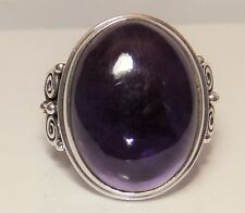 HUGE SILVER  SINGLE CABOSCHON AMETHYST  STATEMENT  RING SIZE P  9.6g