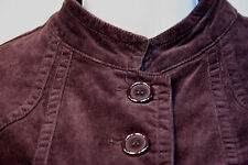 AMBITION Brown Velvet Jacket Size: Medium Naru Collar 4 Pocket BIG Buttons