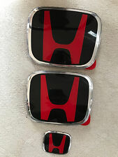3Pcs JDM Red H Front+Rear+steering wheel  Emblems 06-15 HONDA CIVIC SEDAN DX EX