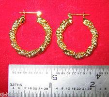 """Made in America - Gold Plated Rope Design ~1"""" Hoop Earrings"""