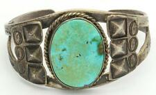 Vintage Sterling Silver Turquoise Native American Cuff Bracelet Fred Harvey Era