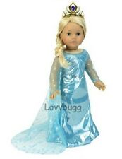 "Frozen Blue Princess Costume Tiara Snow Queen Elsa for 18 "" American Girl Doll"
