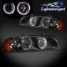 [Dual LED Halo] 1997-2003 Bmw E39 5 Series Black Projector Headlights Pair