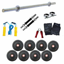 """FITFLY Home Gym Set 30Kg Plate Weight,3Ft Plain Rod,Gloves,Skipping,14"""" Dumbbell"""