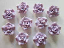 8  Handmade Polymer Clay Cabochons, Rose Flower lilac 26 mm