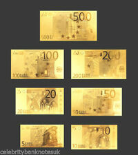 Gold 2002 Euro- Lot Of 7 -European Union € Notes-Each In Rigid Pvc Holder