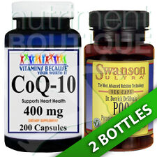 Coenzyme Q-10 400 mg CoQ10 CO Q-10, CoQ-10 200 Caps and PQQ 20 mg 30 tabs