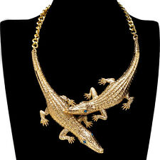 Gold Pendant Chain Choker Bib Statement Crocodile Necklace Women Punk Jewelry