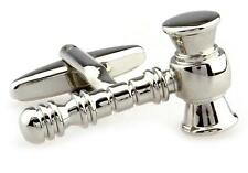 Gavel Cufflinks Silver Lawyer Attorney Wedding Fancy Gift Box Free Ship USA