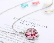 New Silver Pendant with Rose Pink Heart-shaped Swarovski Crystal Chain Jewelry