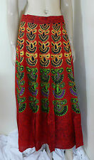 Indian Wraparound Skirt Sarong Red One Size Beach Wear Boho Chic