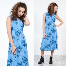 WOMENS VINTAGE 90'S BLUE FLORAL PATTERN MIDI LENGTH BUTTON UP TEA DAY DRESS 12