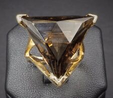 Modernist Scandinavian 14k Yellow Gold Smoky Quartz Ring Size 6 Signed SK RG819