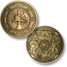 Maltese Cross / Fireman Theme - Fire and Rescue Challenge Coin