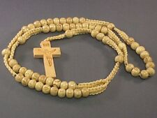 Rosary Wood NATURAL Bead Macrame Accent Carved Crucifix Necklace A Classic! PRAY