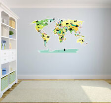 """Political World Map with Animals Wall Decal World Country Atlas 42""""x25"""""""