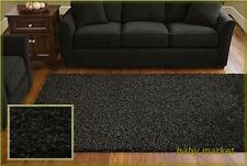 Living Room '5x8' Area Rug Home Decorative Rich Black Thick Shag Carpet NEW